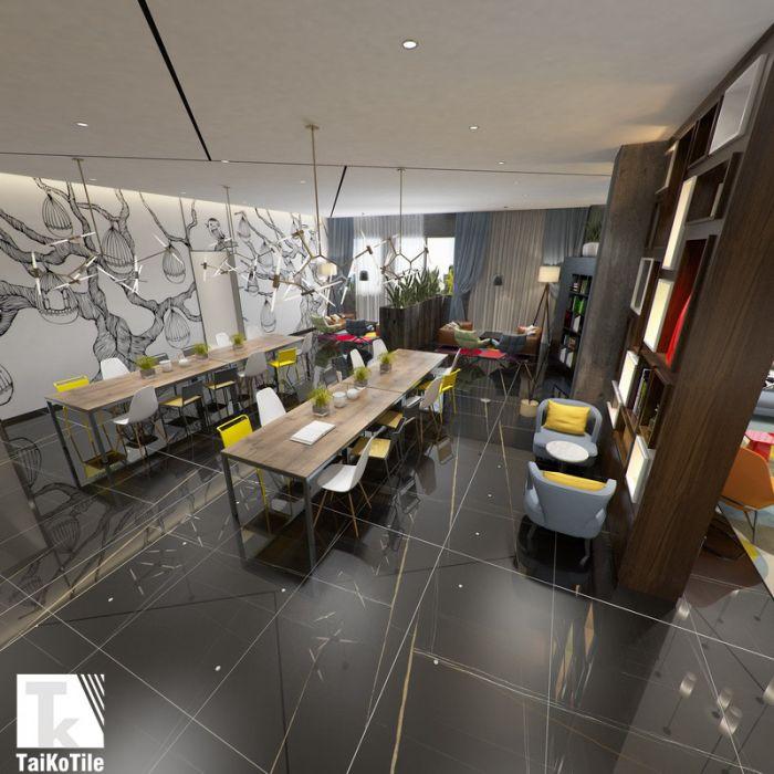 Black Tile Flooring Modern Living Room | TAIKO-TILE